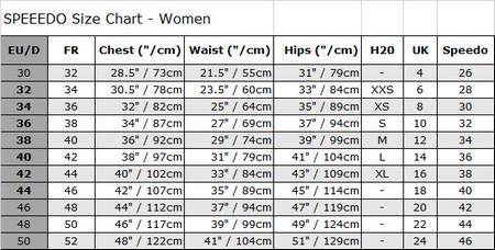 Speedo size chart women